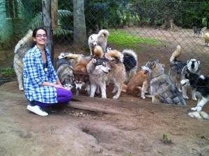 Melissa and the huskies