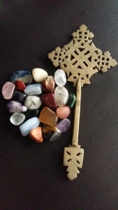 Ethiopian cross with tumbled crystals